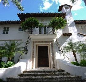 Exterior Venetian Plaster in Pure White for a private home in Miami, Florida.
