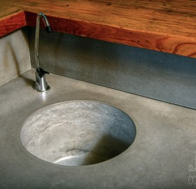 Precast Round Concrete Sink in Steel Reserve for a private Residence in Miami, Florida.