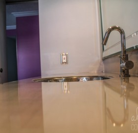 Aluminum Bathroom Countertop for a private Residence in Delray, Florida.