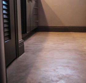 Concrete Microtopping Bathroom Floor for a private Residence in Delray, Florida.