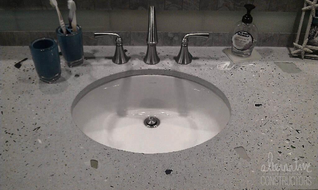Bathroom Concrete CountertopCustom Blend Of Seashells + Sea GlassApple Tree  Lane Private ResidenceBoca Raton, FL