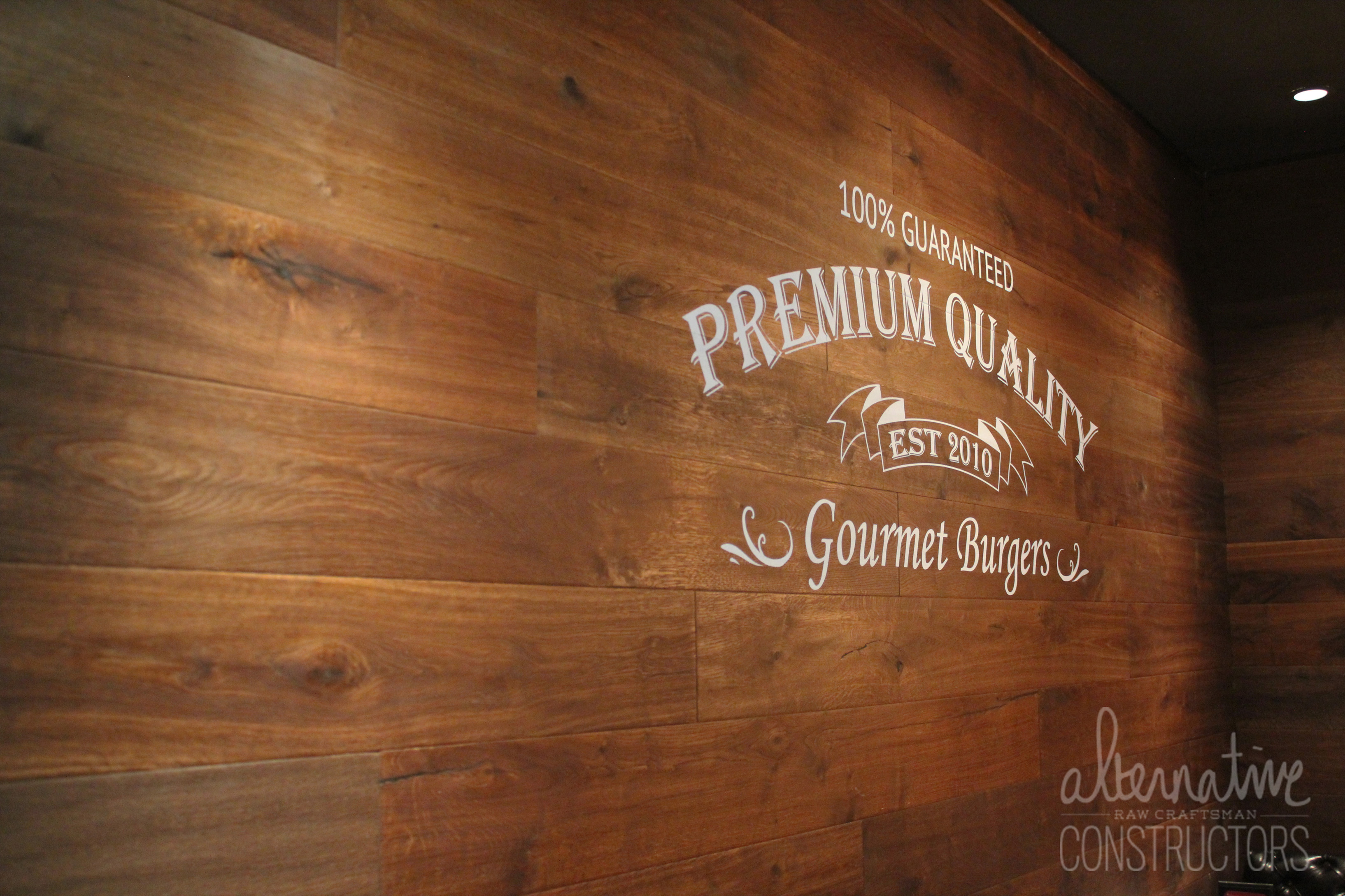 Wood Wall Installation With Personalized Logo Rok Brgr
