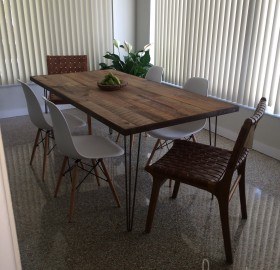 Polished Terrazzo and Custom Reclaimed Wood Table