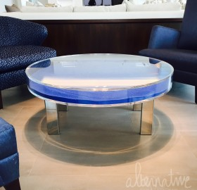 Custom Acrylic and Stainless Steel Coffee Table