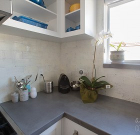 Concrete Kitchen Countertop and Concrete Backsplash Tile