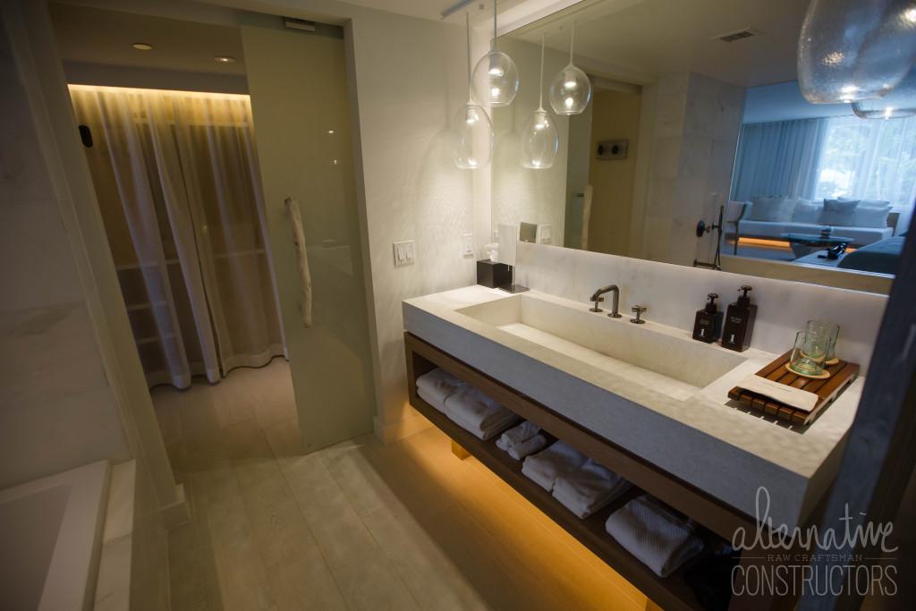 concrete bathroom trough sink vanity