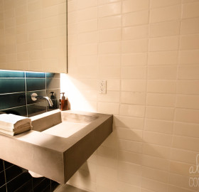 White Concrete Brick Tile and Concrete Sink