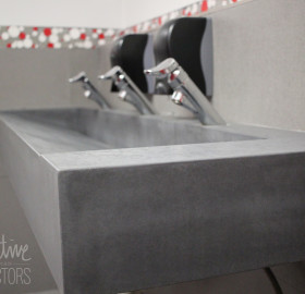 concrete countertop and concrete sink