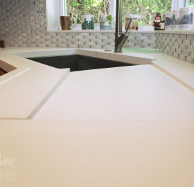 Kitchen Concrete Countertop with Marine Edge and Built In Drain Board