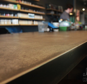 Concrete Microtopping Counter with steel edge