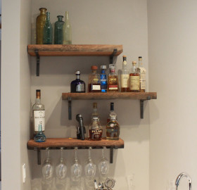 Custom Reclaimed Wood Floating Shelving