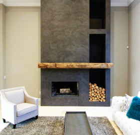 Concrete Microtopping Fireplace