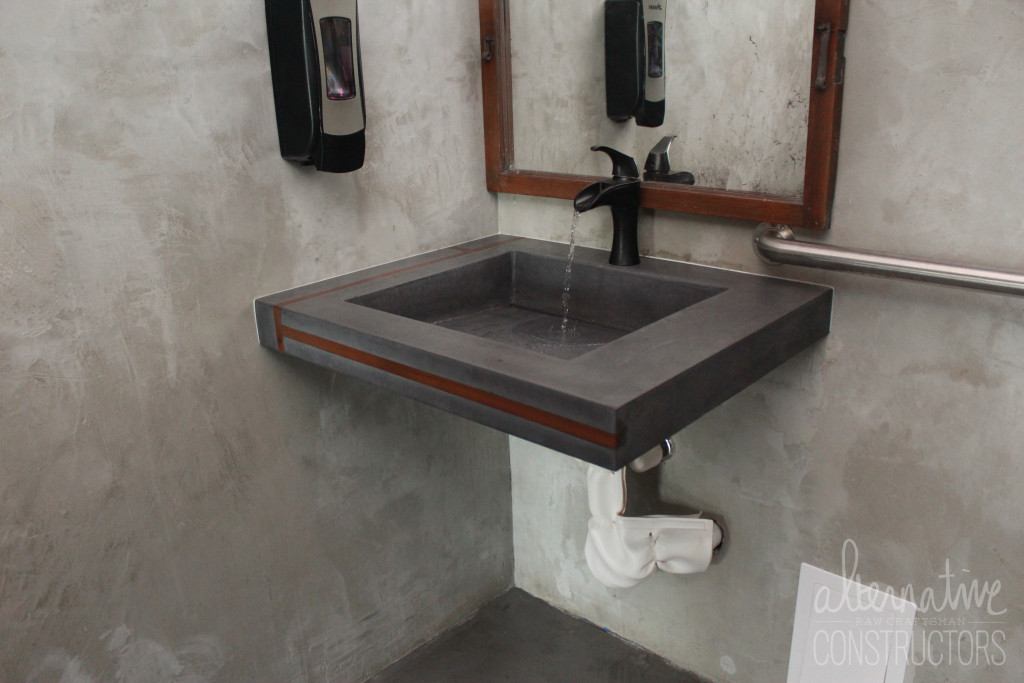 Custom Floating Concrete Sink With Wood Inlays WOK Restaurant Fort Lauderdale FL