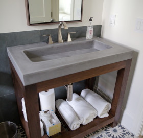 Custom Bathroom Vanity with Integrated Concrete Trough Sink