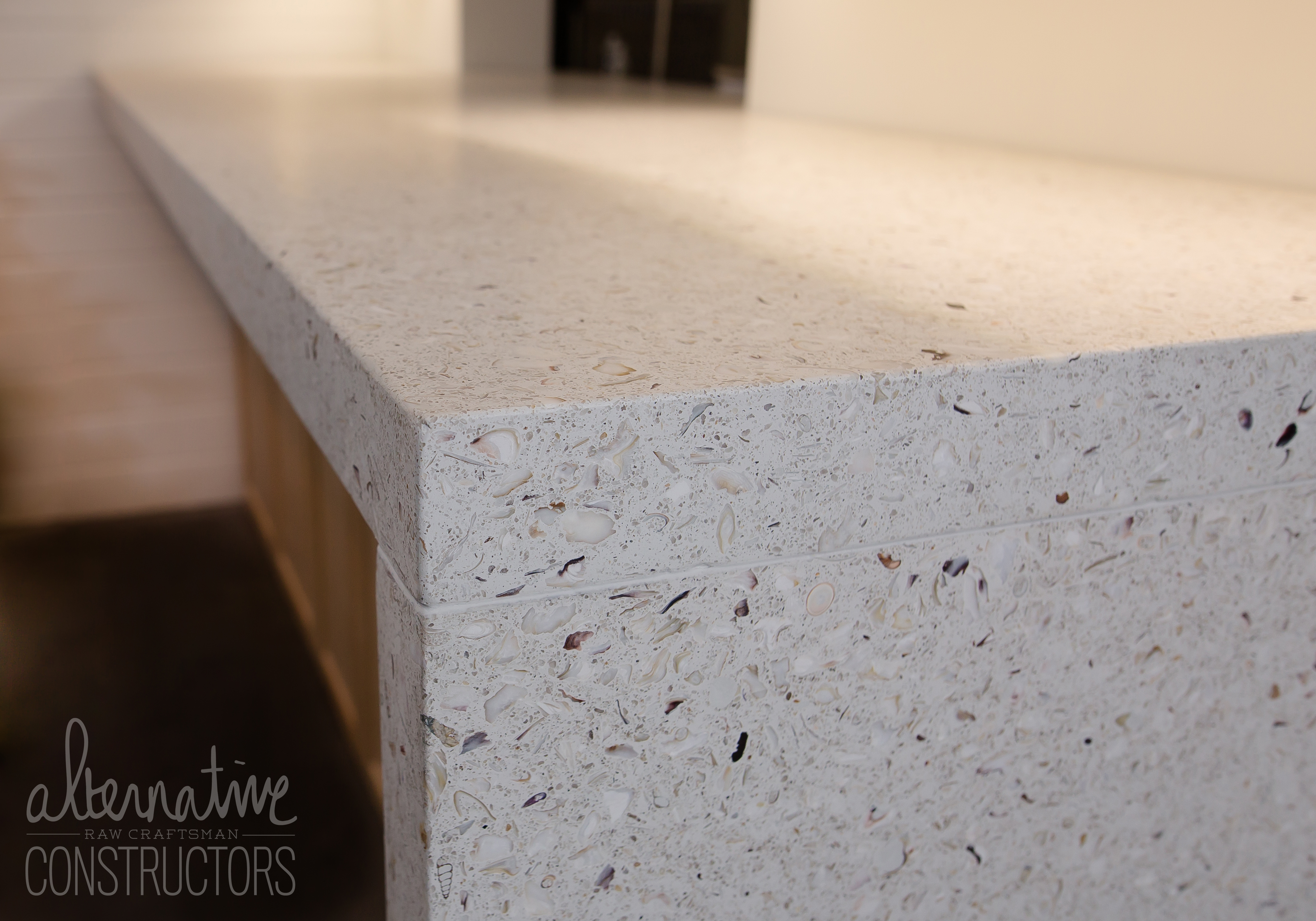 Concrete Countertop With Waterfall Edge Color Iced Milk
