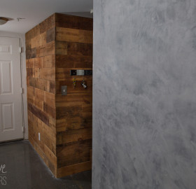 Reclaimed Wood and Concrete Microtopping Walls