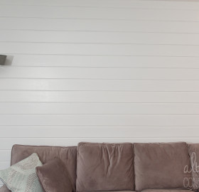 Painted Salvaged Shiplap Wood Wall