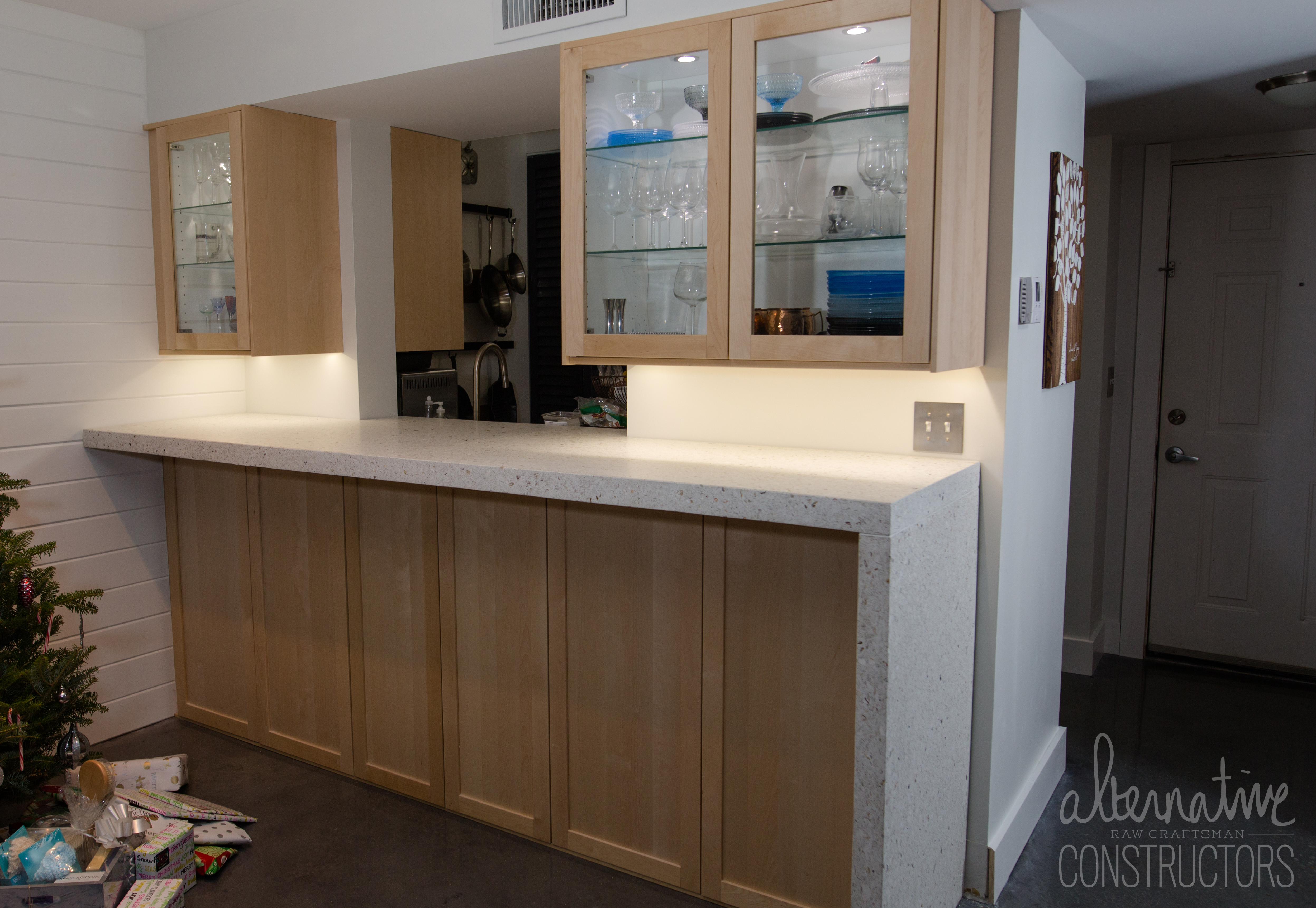 Kitchen Concrete Countertop With Waterfall Edge Color