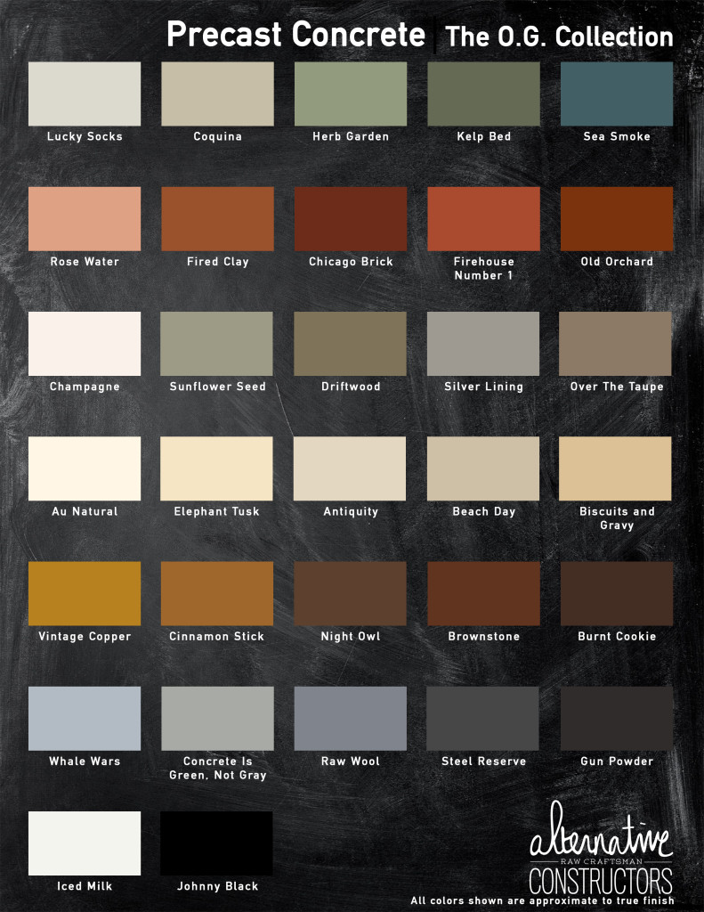 Precast Concrete The OG Collection COlor Chart