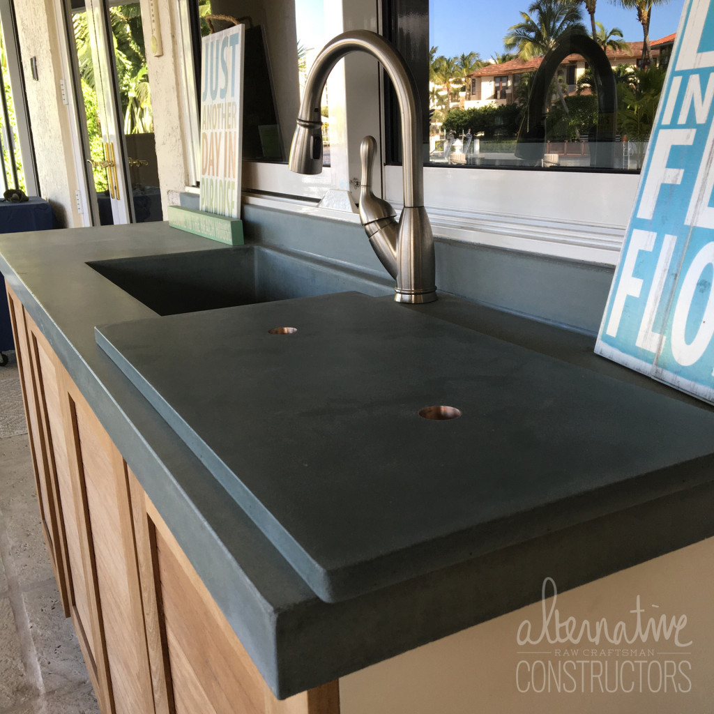 Kitchen Concrete Countertop With Integral Sink And Removable Cutting Board