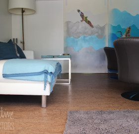 Installed cork flooring