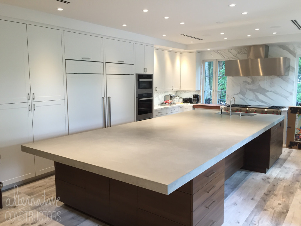 Pour In Place Kitchen Island Concrete Countertop Custom Color 97th St Private Residence Miami Fl