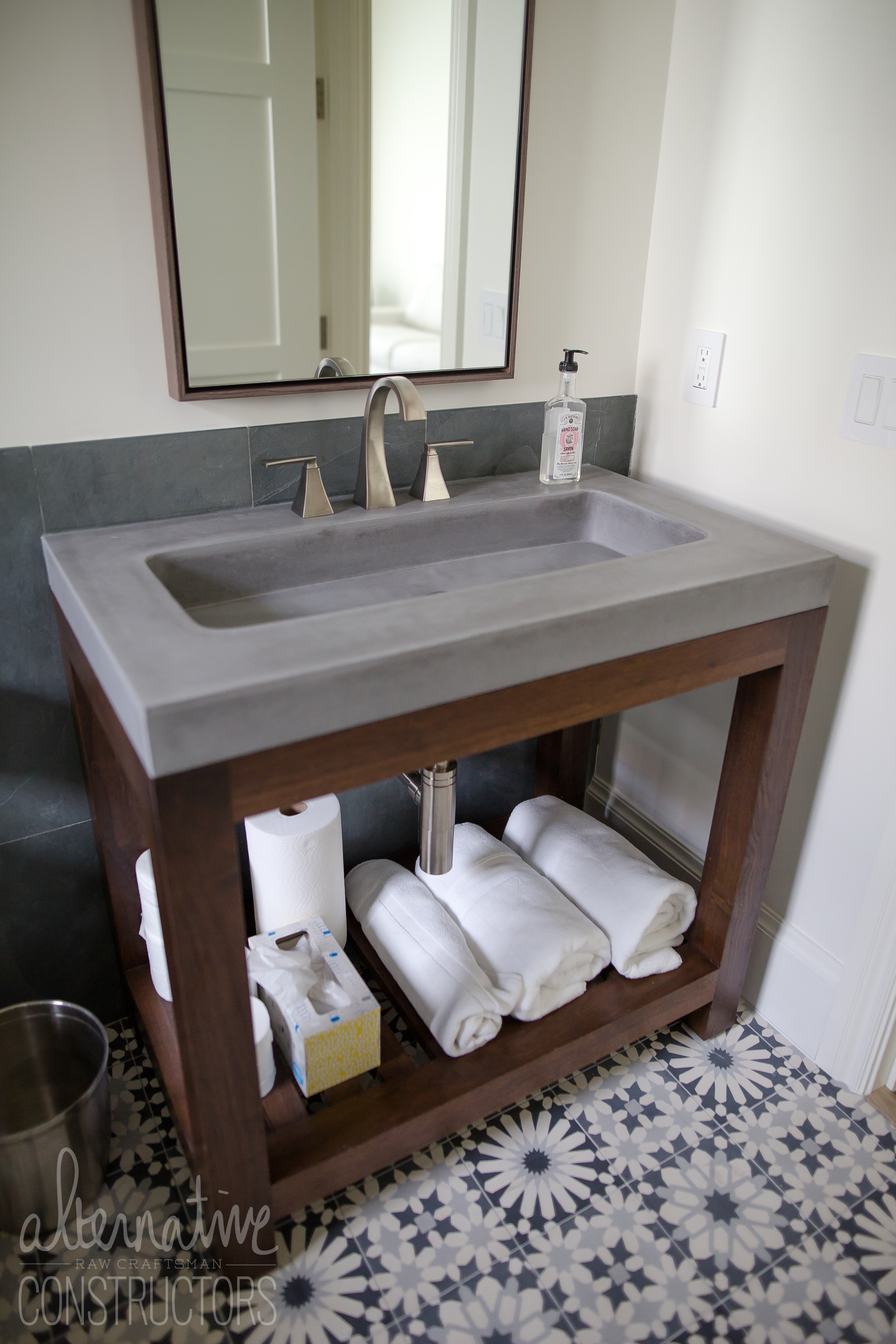 Picture of: Custom Bathroom Vanity With Integrated Concrete Trough Sink Color Steel Reserve Ne 31st Ave Private Residence Lighthouse Point Fl Alternative Constructors